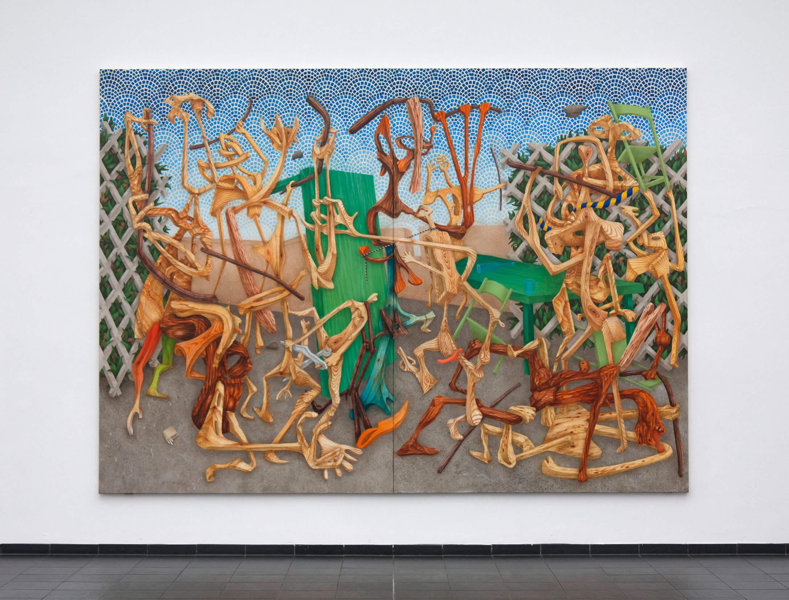 »Baton blows« 260 x 360 cm Oil on canvas 2018